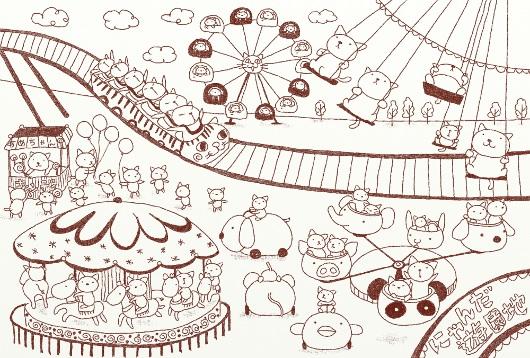 にゃんだ遊園地・線画イラスト