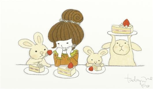 うさぎファミリーと苺のショートケーキ☆
