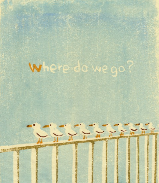 木版画「どこへ行こうか」