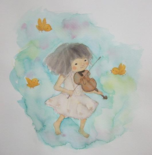 バイオリンを弾く少女(水彩)