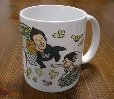 ウエディングの似顔絵マグカップ☆洋装バージョン
