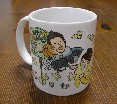 ウエディングの似顔絵マグカップ☆和装バージョン