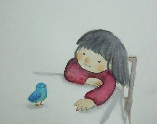 しあわせの青い鳥☆水彩